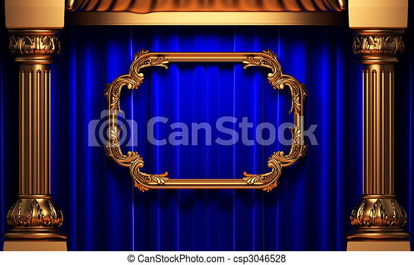 blue curtains, gold columns and frame  - csp3046528
