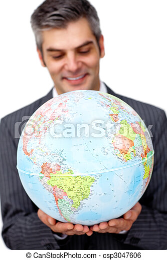 Mature businessman smiling at global business expansion - csp3047606
