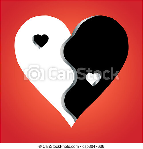 Clip Art Vector of Love Yin Yang on red background, vector - Love ...