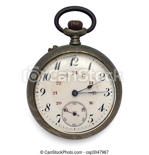 old pocket watch (isolated with clipping path) - csp3047967