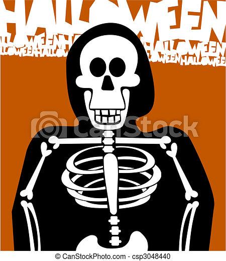 experiência., dia das bruxas, esqueleto, cartão, saudação - csp3048440