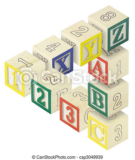 123 ABC Alphabet Blocks Optical Illusion - csp3049939