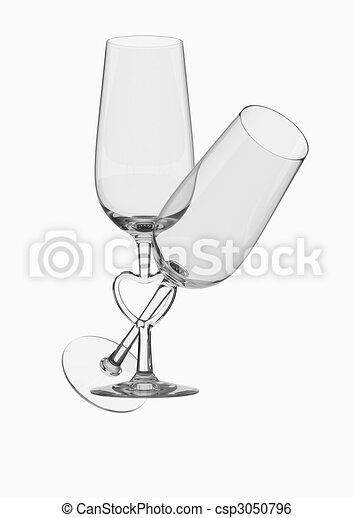 Couple champagne glasses with heart stem - csp3050796
