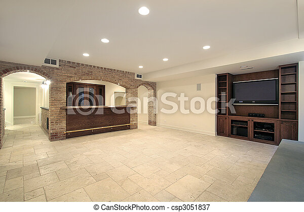 Basement with bar - csp3051837