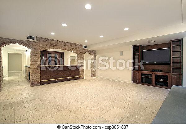 Basement with bar - csp3051837
