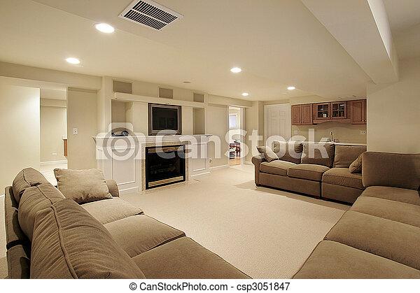 Basement in luxury home - csp3051847