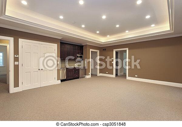 Hem, källarvåning, konstruktion, färsk - csp3051848