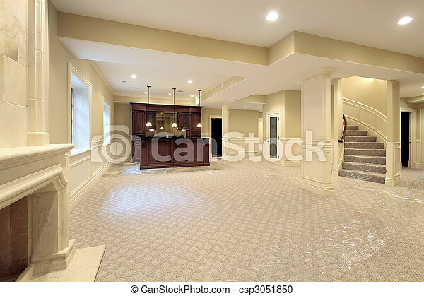 Basement in new construction home - csp3051850