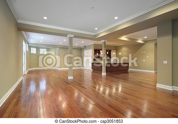 Basement with kitchen in new construction home - csp3051853