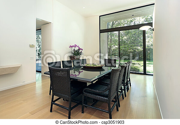 Dining room with picture window - csp3051903