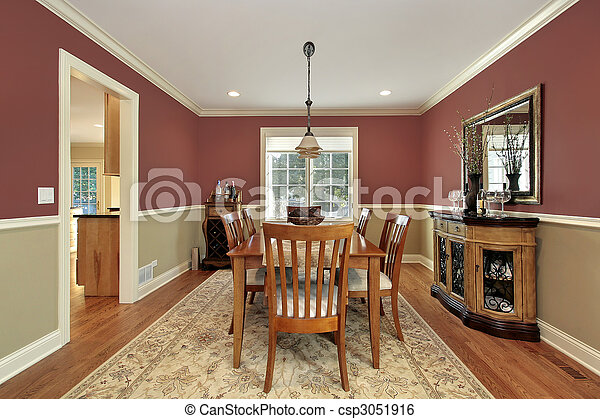 Stock Image Of Dining Room With Two Toned Walls Dining