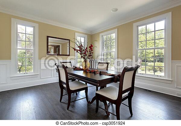 stock foto von essen zimmer in neu baugewerbe daheim mit spiegel csp3051924 suchen sie. Black Bedroom Furniture Sets. Home Design Ideas