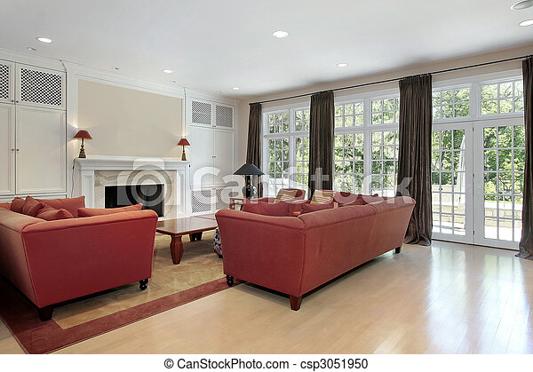 Family room with wall of windows - csp3051950
