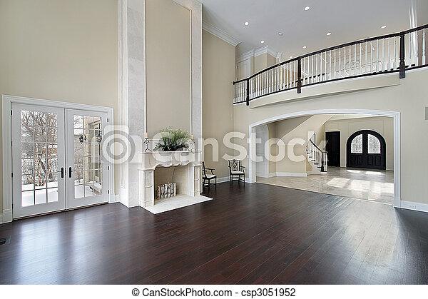 Family room with balcony - csp3051952