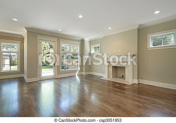 Family room in new construction home - csp3051953