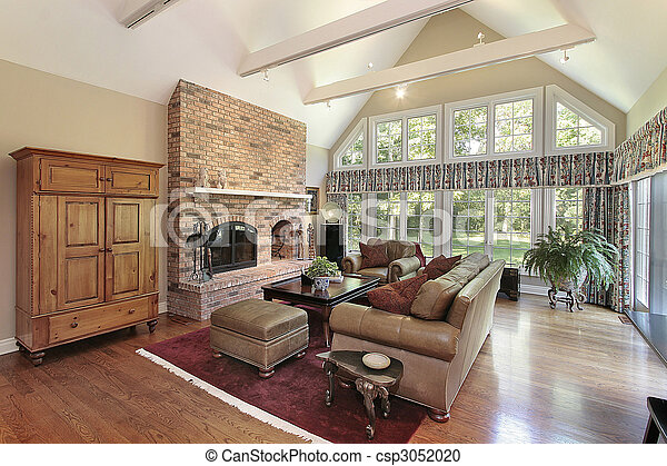 Stock Photography Of Family Room With Brick Fireplace And