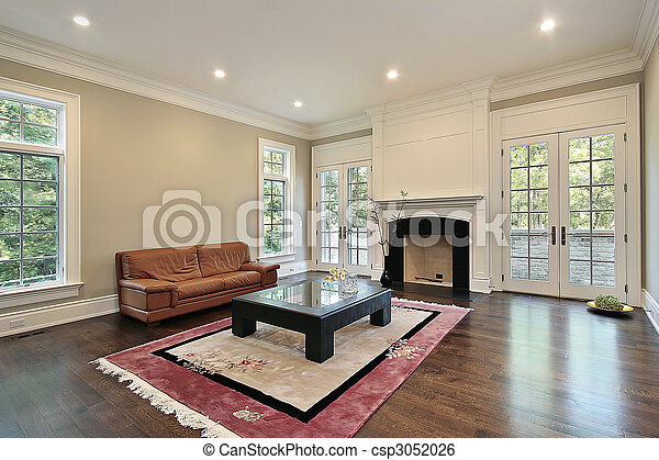 Family room with fireplace - csp3052026