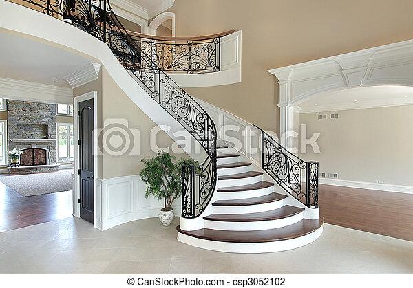 fabulous foyer with grand staircase foyer in new home with escaleras de casas de lujo
