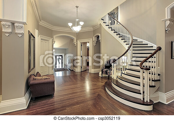 Foyer with curved staircase - csp3052119