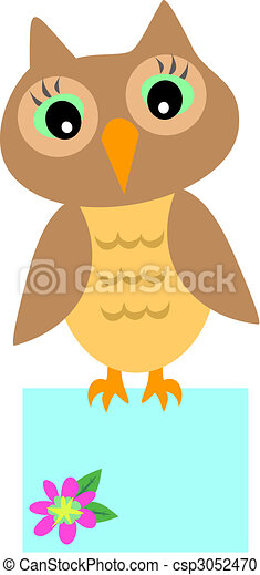 Owl with Message Box - csp3052470