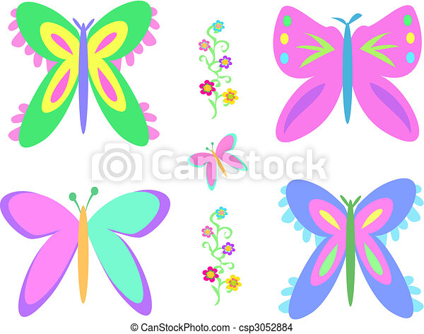Mix of Butterflies and Vine - csp3052884