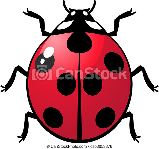 Clip Art Vector of Ladybug - Vector illustration of a ladybug over ...