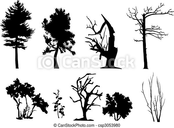 Tree vector silhouettes - csp3053980