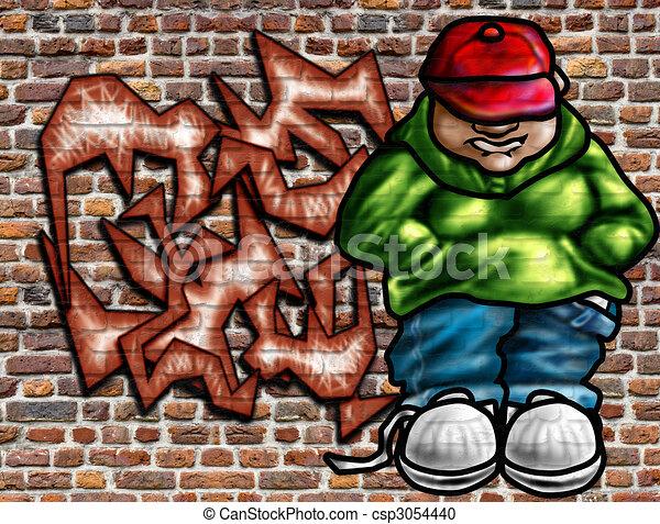 stock de pared arte de grafiti