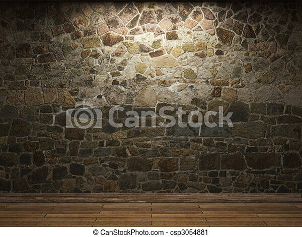 illuminated stone wall  - csp3054881