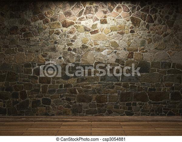 illuminated stone wall  - csp3054881