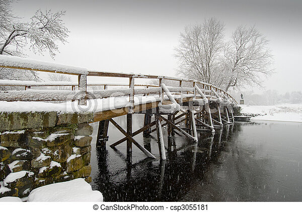Old north bridge in winter - csp3055181
