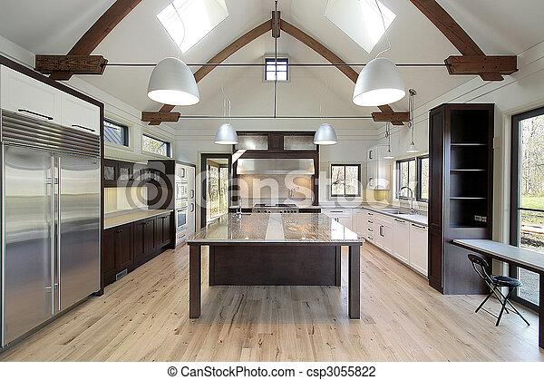 Stock foto van glad, moderne, keuken, met, groot, marmer, eiland ...