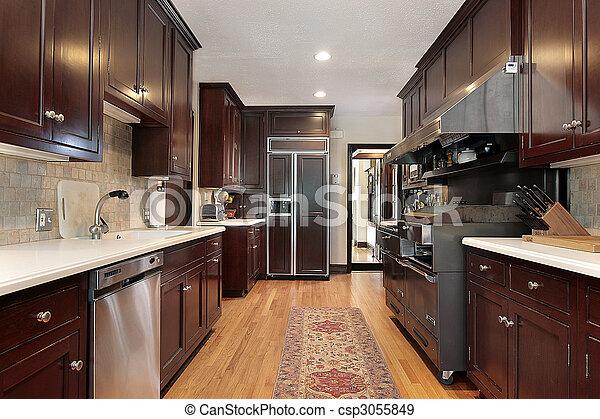 Wood cabinet kitchen - csp3055849
