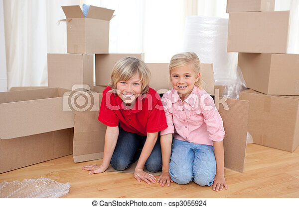 Happy sibling having fun - csp3055924
