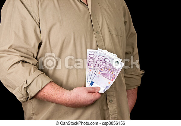 male person with 500 euro in cash on black  - csp3056156