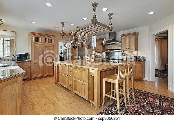 Stock fotografie van eiland slager blok keuken keuken in luxe thuis met csp3056251 - Centrum eiland keuken ...