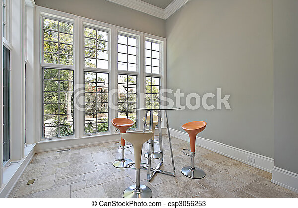 Eating area with patio view - csp3056253