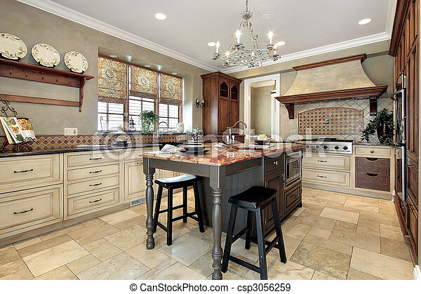 Kitchen with granite island - csp3056259