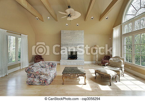Living room in new construction home - csp3056294