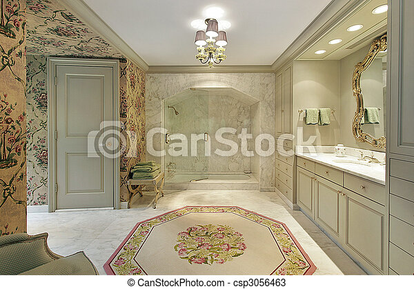 Archivi fotografici di lusso, maestro, bagno, con, marmo, doccia ...