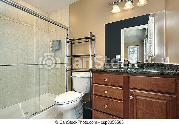 stock bilder von bad glas dusche badezimmer glas dusche holz csp3056505 suchen sie. Black Bedroom Furniture Sets. Home Design Ideas
