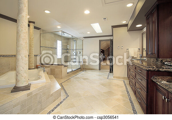 Master bath with tub columns - csp3056541