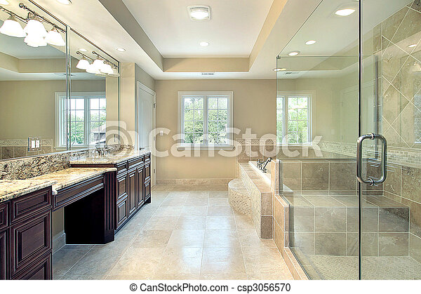 Master bath in new construction home with glass shower
