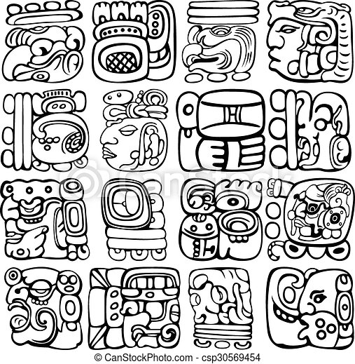 Vector set of Mayan and aztec glyphs with ancient gods and characters ...