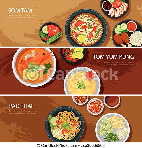 Vector of thai food web banner flat tam tom for Asian cuisine indian and thai food page