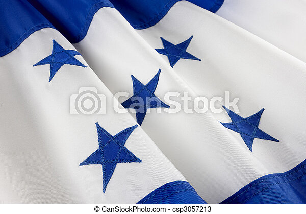 Macro shot of Honduran flag - csp3057213