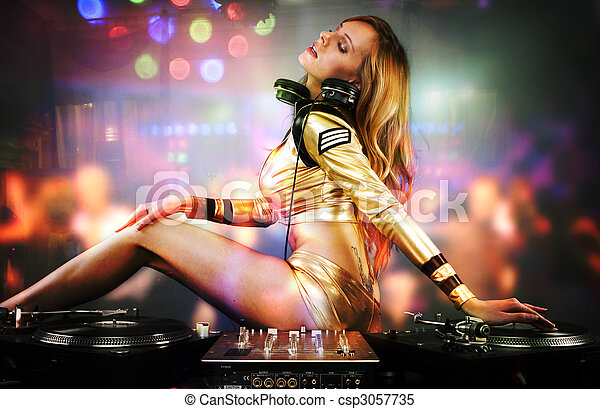 Beautiful DJ girl on decks on the party,  - csp3057735