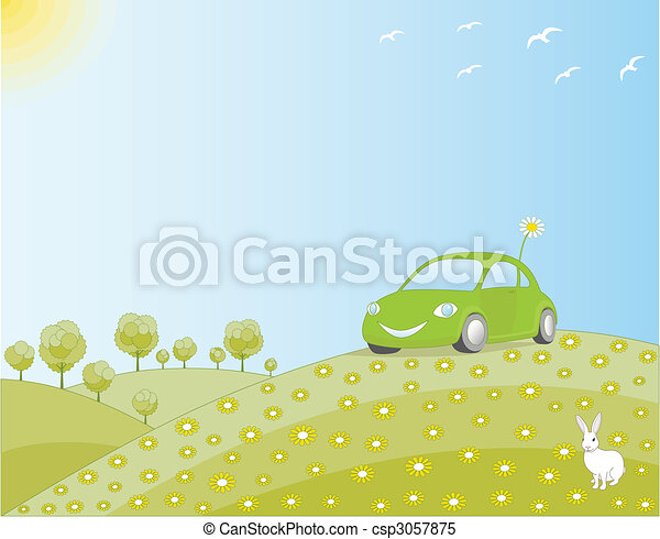 Eco-friendly car in a green field - csp3057875