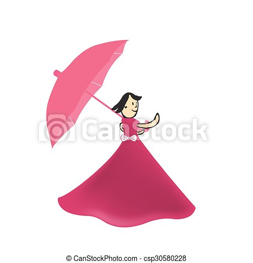 girl walks with an umbrella in the autumn illustration - csp30580228