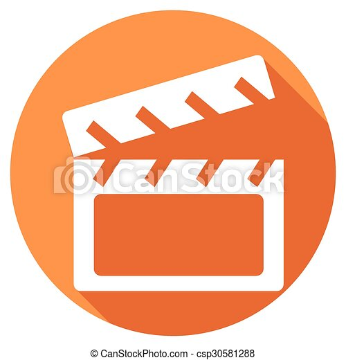 Modern clapper board icon with long shadow effect - csp30581288